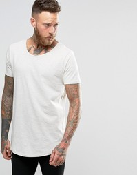 Светло-бежевая меланжевая футболка с асимметричным краем Lee
