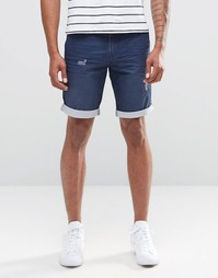 Celio Cotton Twill Short with Distressing and Contrast Turnup