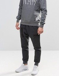 Черные спортивные штаны с манжетами G-Star Powell - Черный меланж
