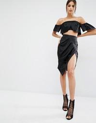 Юбка-карандаш c разрезом спереди Kendall + Kylie - Черный