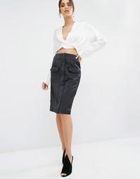 Юбка миди с карманом Kendall + Kylie - Черный