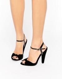 Бархатные сандалии на каблуке Paper Dolls - Черный