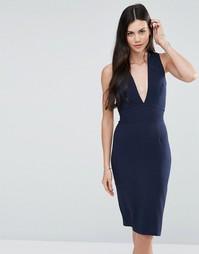 Платье-футляр с глубоким V‑образным вырезом Love - Темно-синий