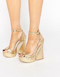 Блестящие босоножки на платформе Jeffrey Campbell - Gold glitter