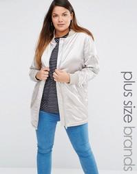 Атласная куртка‑пилот Boohoo Plus - Серебристо-серый