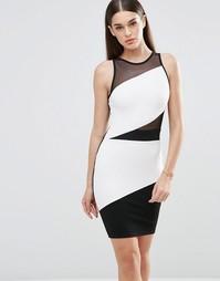 Облегающее платье в стиле колор блок с сеточкой Sistaglam - Черный