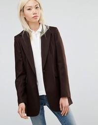 Длинный темно-коричневый блейзер Helene Berman - Коричневый