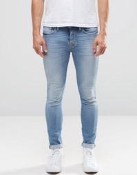 Светлые джинсы стретч зауженного кроя Selected - Синий