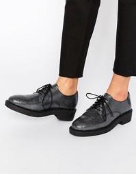 Туфли на фактурной плоской подошве со шнуровкой Bronx - Gunmetal