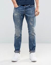Темные суженные книзу джинсы с потертостями G-Star 3301 86