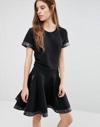Короткое приталенное платье с карманами на молнии и отделкой заклепкам Diesel