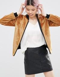 Фактурная куртка-пилот на молнии горчичного цвета Helene Berman