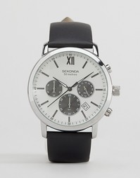 Часы с черным кожаным ремешком и серебристым циферблатом Sekonda экскл