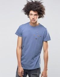 Рваная футболка в полоску Systvm Meter - Синий