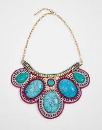 Ожерелье-воротник с броскими камнями Raga - Красная отделка