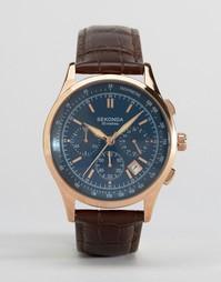Часы с хронографом и коричневым кожаным ремешком Sekonda - Коричневый