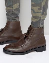 Кожаные ботинки на шнуровке G-Star Guard - Коричневый