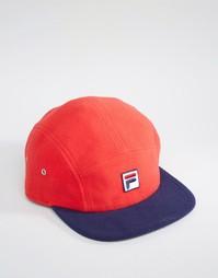 Флисовая кепка с логотипом и контрастным козырьком Fila - Красный