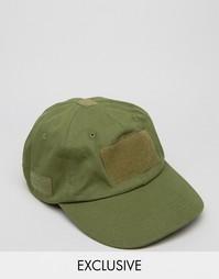 Зеленая бейсболка c липучками Reclaimed Vintage - Зеленый