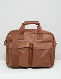 Уплотненная кожаная сумка для ноутбука Eastpak PakR - Коричневый