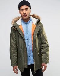 Пальто-парка с искусственным мехом на капюшоне Farah - Зеленый