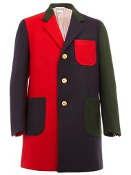 однобортное пальто колор-блок  Thom Browne