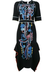платье миди с вышивкой Peter Pilotto