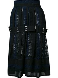 юбка с вышивкой и поясом Sacai