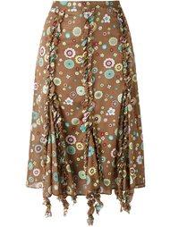 юбка с узором и отделкой оборками Romeo Gigli Vintage