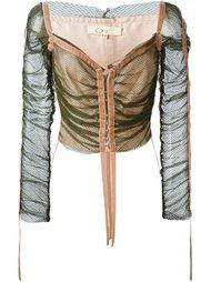 кружевная прозрачная куртка со сборками Romeo Gigli Vintage