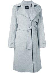 однобортное пальто с поясом Theory