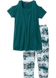 Пижама-капри (черный с рисунком) Bonprix