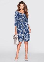 Джинсовое платье (синий джинсовый с рисунком) Bonprix
