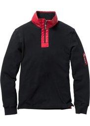 Футболка Regular Fit с длинным рукавом и воротником-стойкой (темно-красный) Bonprix