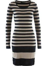 Вязаное платье (темно-синий/серый меланж в пол) Bonprix