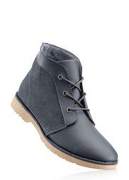 Кожаные ботинки на шнурках (темно-синий) Bonprix