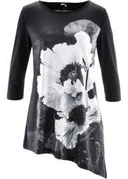Удлиненная футболка (омаровый/серый/черный) Bonprix