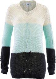 Пуловер с узором косичка и переходом расцветок (цвет белой шерсти/нежно-розовы) Bonprix