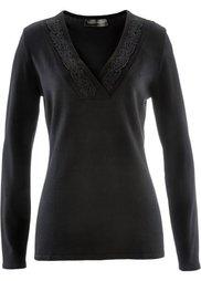 Пуловер с кружевной отделкой (натуральный камень) Bonprix