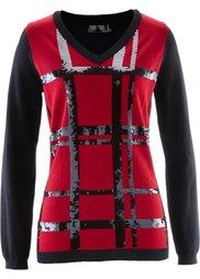 Пуловер с пайетками (белый/черный) Bonprix