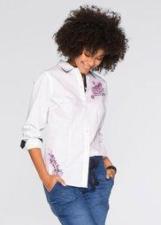 Блузка с принтом и длинным рукавом (белый) Bonprix