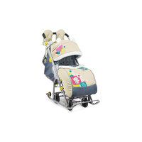 Санки-коляска Ника детям 7-2, Коллаж-мишка, бежевый