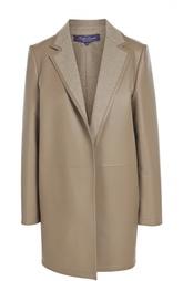 Кожаный утепленный жакет с широкими лацканами Ralph Lauren