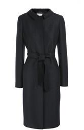 Шерстяное пальто с поясом и отложным воротником Armani Collezioni