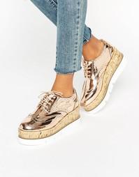 Туфли на шнурках и платформе ASOS OLIVE - Розовое золото