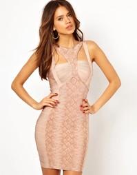 Бандажное облегающее платье с питоновым принтом Forever Unique
