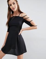 Платье с решеткой из лямок на рукавах Love - Черный