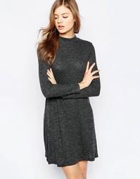 Свободное платье с длинными рукавами b.Young - Черный меланж