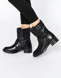 Кожаные байкерские ботинки Pieces Psuda - Черный
