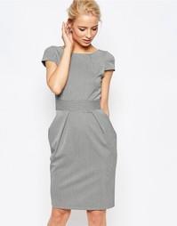 Платье-тюльпан в ломаную клетку с завязкой сзади Closet
